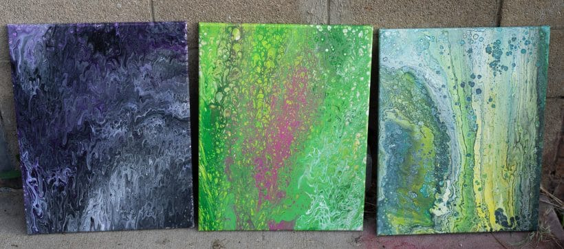 pictures of paintings that were flow painted