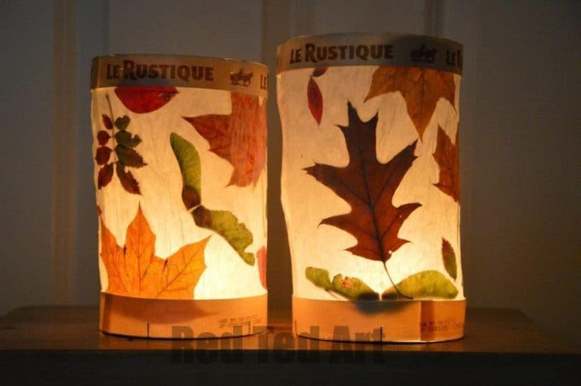 fall leave lantern craft for toddlers