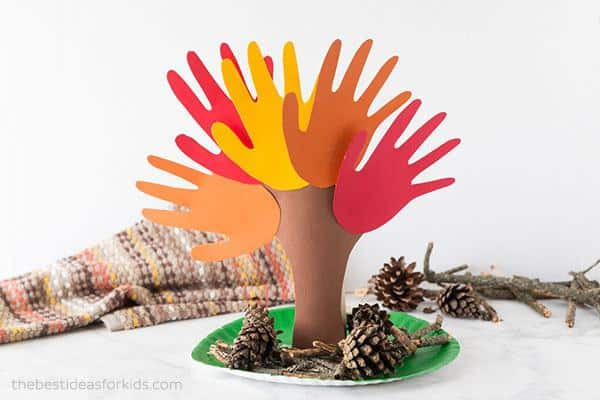 Fall handprint tree activity for kids