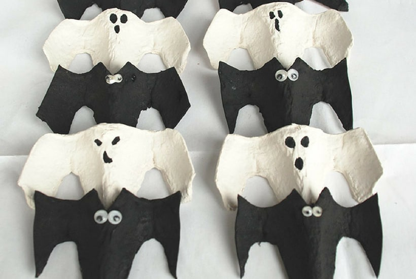 ghost and bat halloween craft for toddler