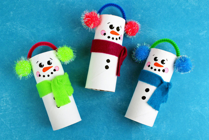 christmas crafts for toddlers toilet paper snowman