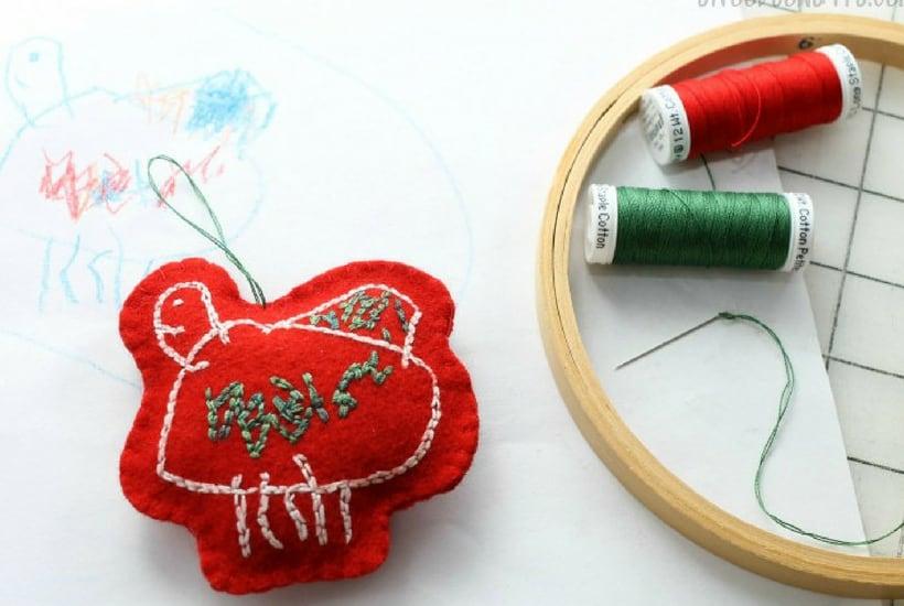 homemade toddler keepsake ornaments embroider