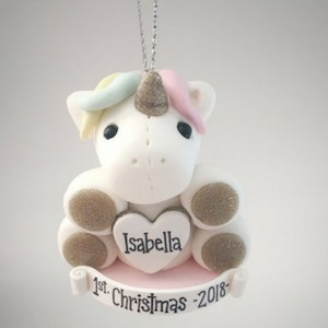 baby's first christmas ornament unicorn