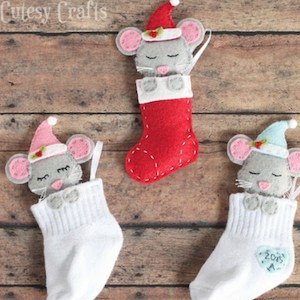 baby sock first christmas ornament