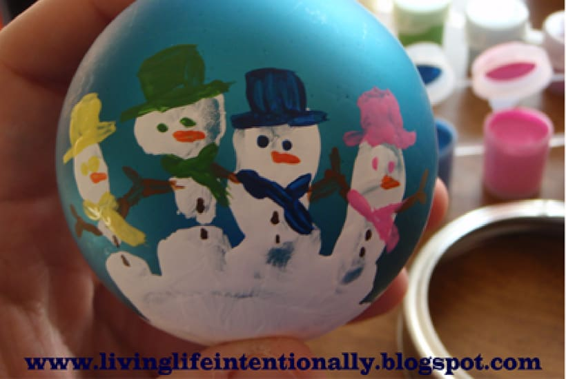 homemade toddler keepsake ornaments snowman keepsake