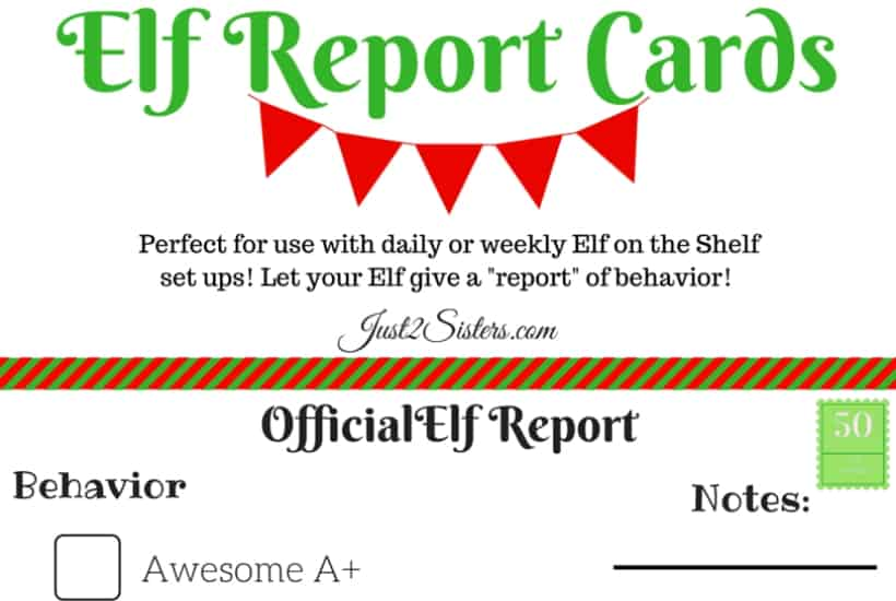report card elf on the shelf printable