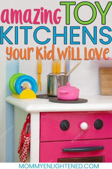 If you are considering purchasing your toddler or child a kids play kitchen set, we have them all. A kitchen toy would make an awesome Christmas gift that encourages pretend play and will be long lasting. #mommyenlightened #christmaswithkids #christmasgifts #pretendplay