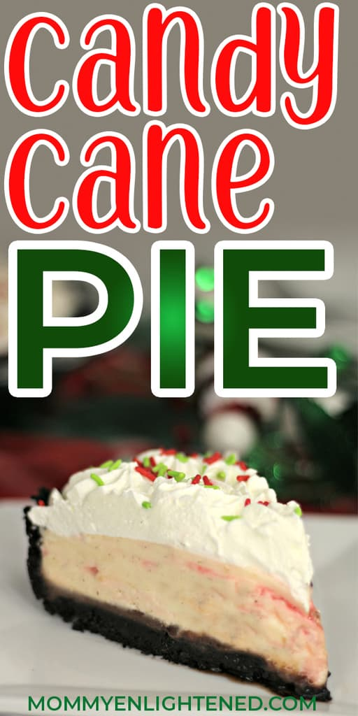If you're looking for a delicious holiday treat that would work well as a Christmas gift or something for your holiday party or get together, this candy cane pie is definitely the right fit. #mommyenlightened #holidaydesserts #holidaytreats #candycanepie