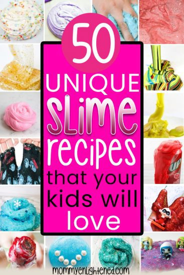 If you're looking for cool slime recipes, we have tons of unique ideas you probably haven't tried before. It's a great art project or activity for kids and families of all ages. From fluffy slime to glow in the dark and themed slime - we have it all! #mommyenlightened #slimerecipes #coolslime