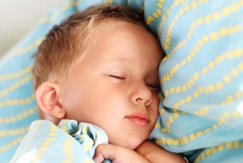 picture of toddler sleeping after delaying bedtime to sit on the potty
