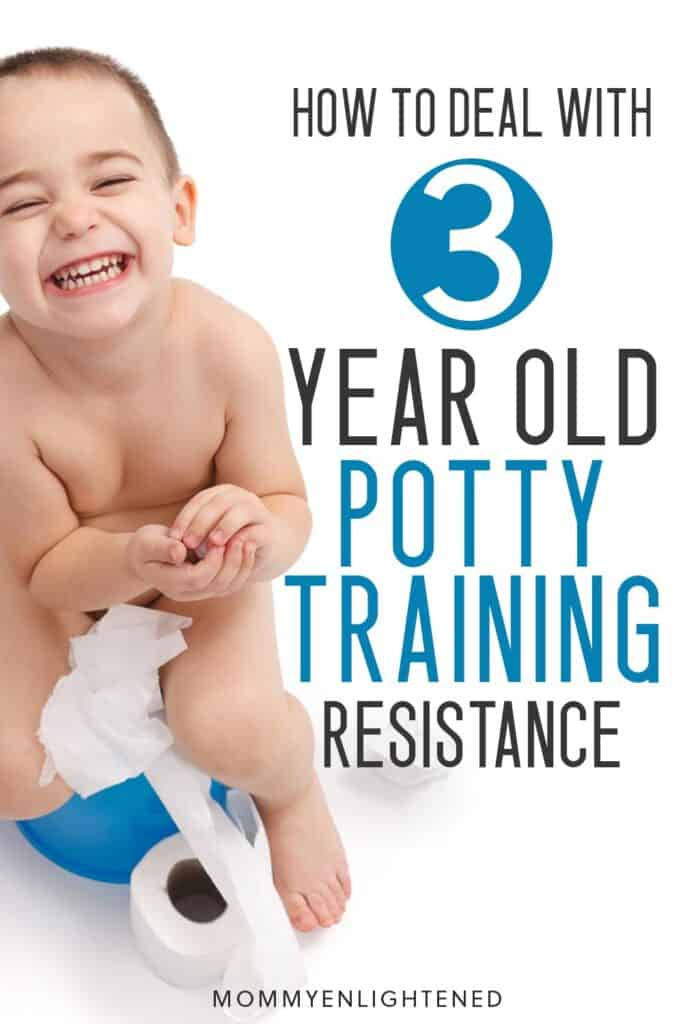 Pinterest pin about potty training a three year old