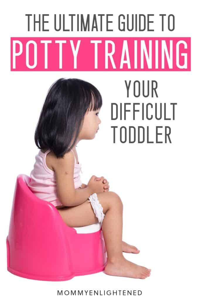 Pinterest pin of three year old who's resistant to potty training