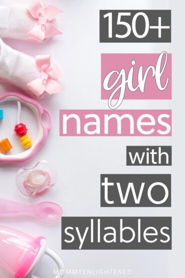 picture of pinterest pin that says girl names with two syllables