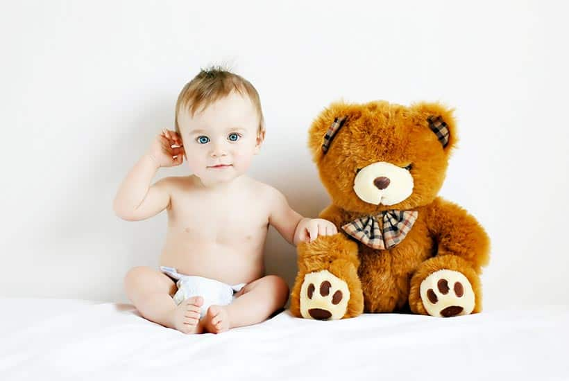 picture of baby boy and teddy bear