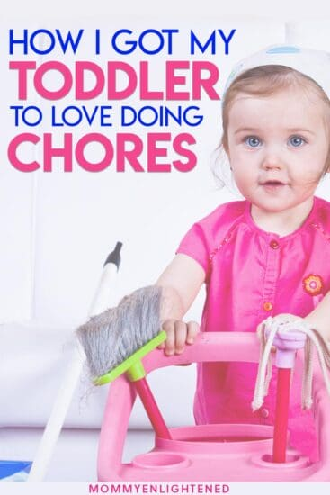 pinterest pin of three year old doing chores