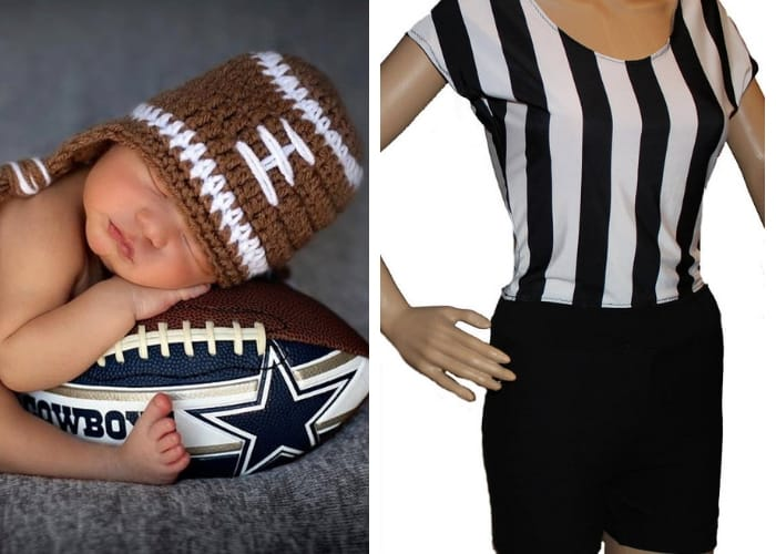 football and referee mom and baby costume