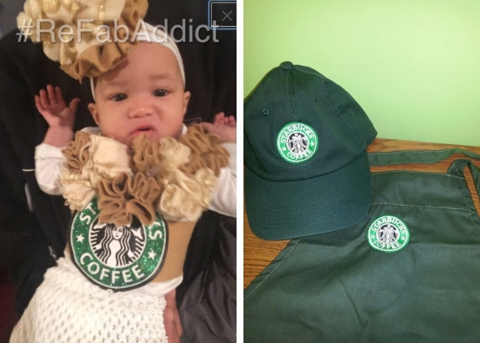 frappe and barista mom and baby costume