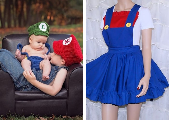 mario and luigi mom and baby costume