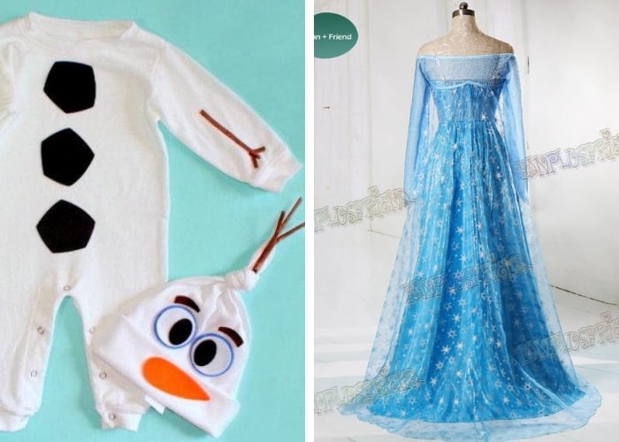 elsa and olaf mom and baby costume