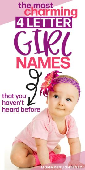 pinterest pin titled four letter girl names