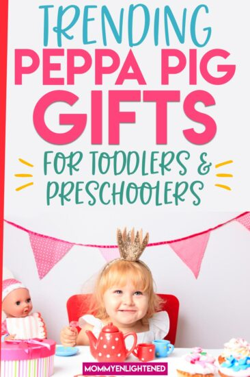 picture of three year old getting peppa pig gifts for her birthday