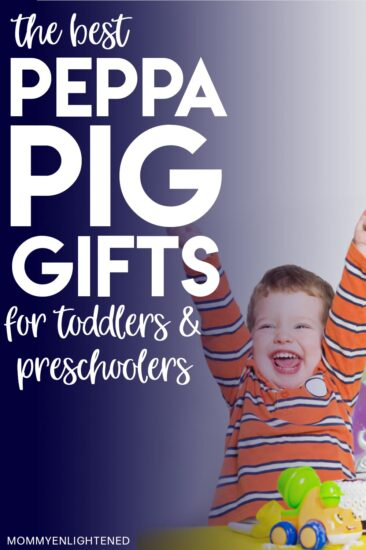 picture of three year old getting peppa pig gifts for his birthday