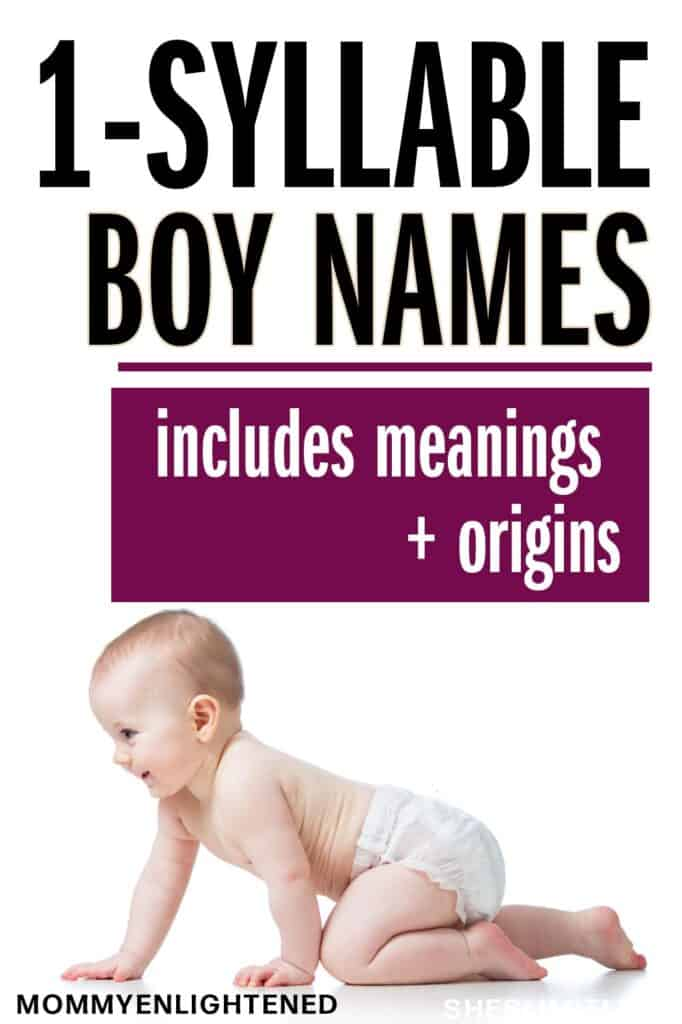 Pinterest pin that says 1 syllable boy names