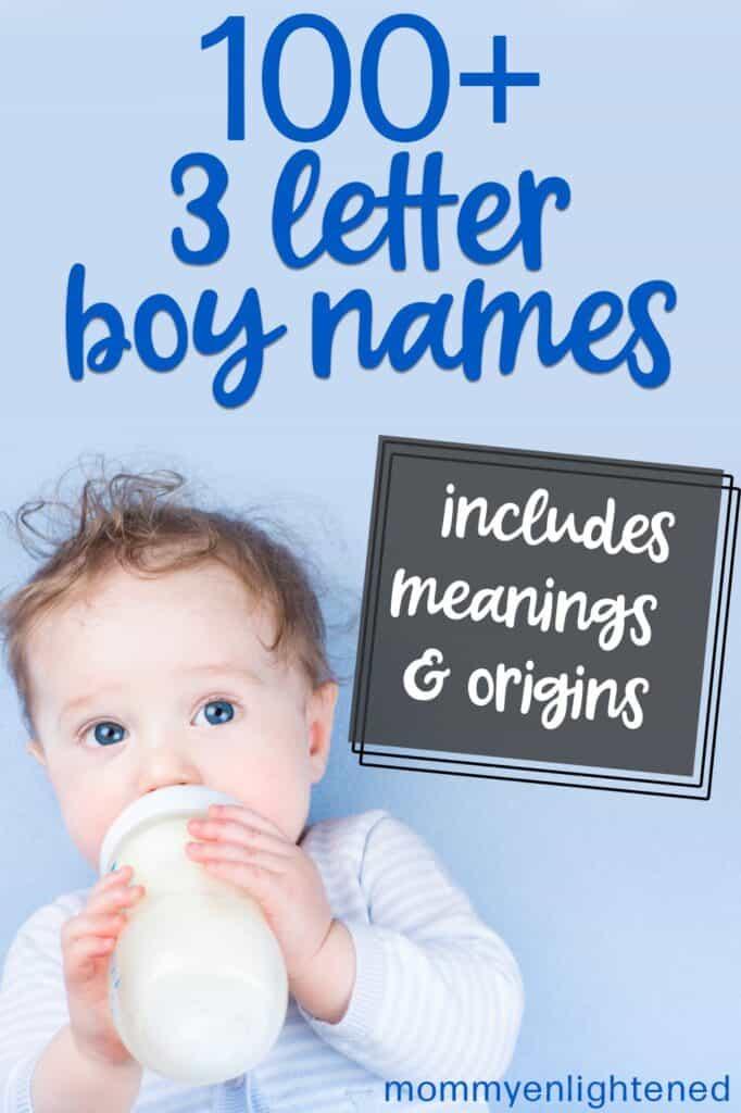Pinterest pin that says three letter boy names