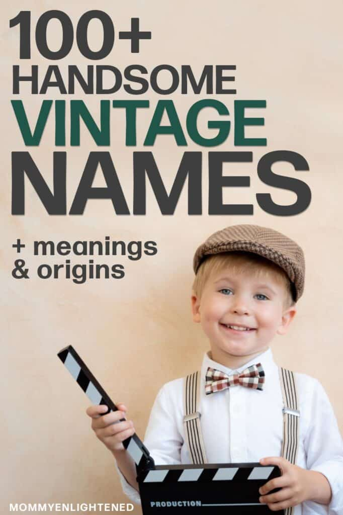 Pinterest pin that says handsome vintage names