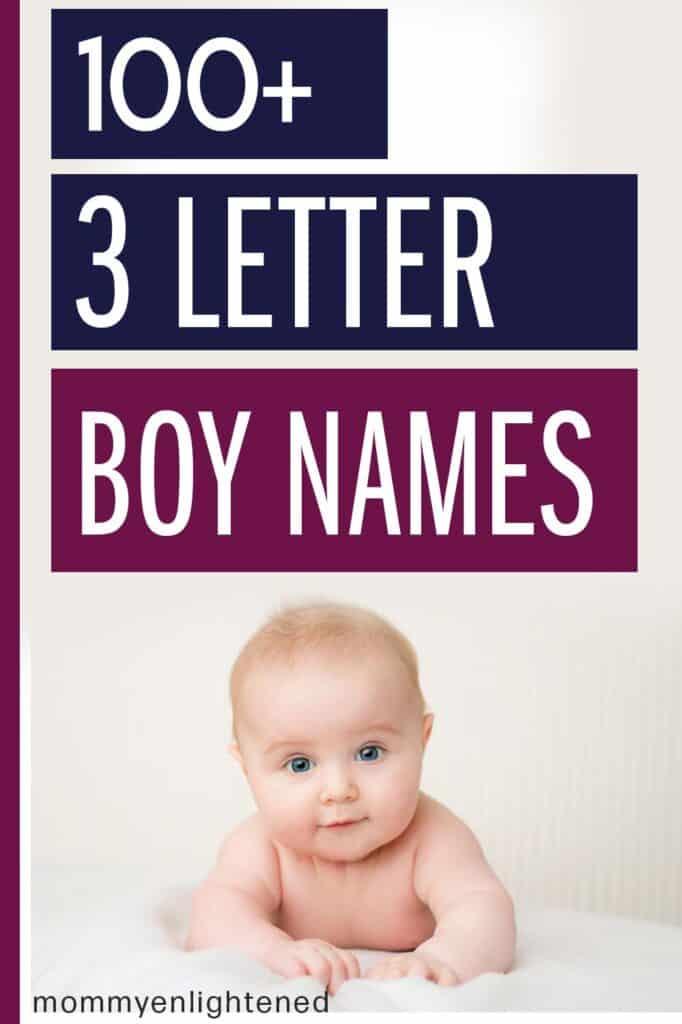 pinterest pin that says 3 letter boy names